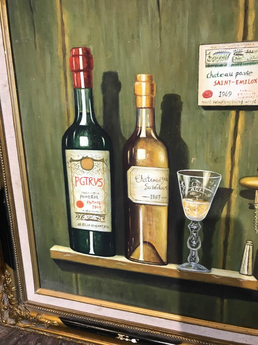 Oil on Canvas of Bottle of Wine on Wall - 2