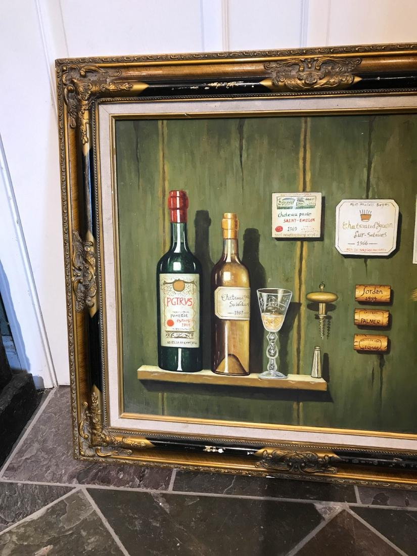 Oil on Canvas of Bottle of Wine on Wall - 7