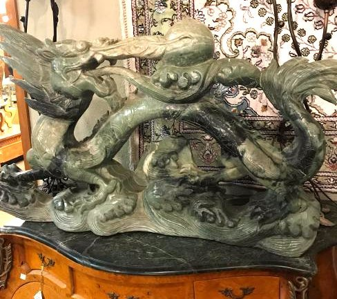 Large Carved Jade Dragon w/ Ball of Fire