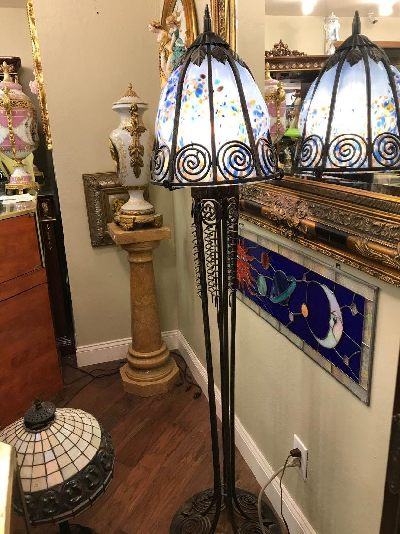 Hand-Blown Glass Wrought Iron Floor Lamp