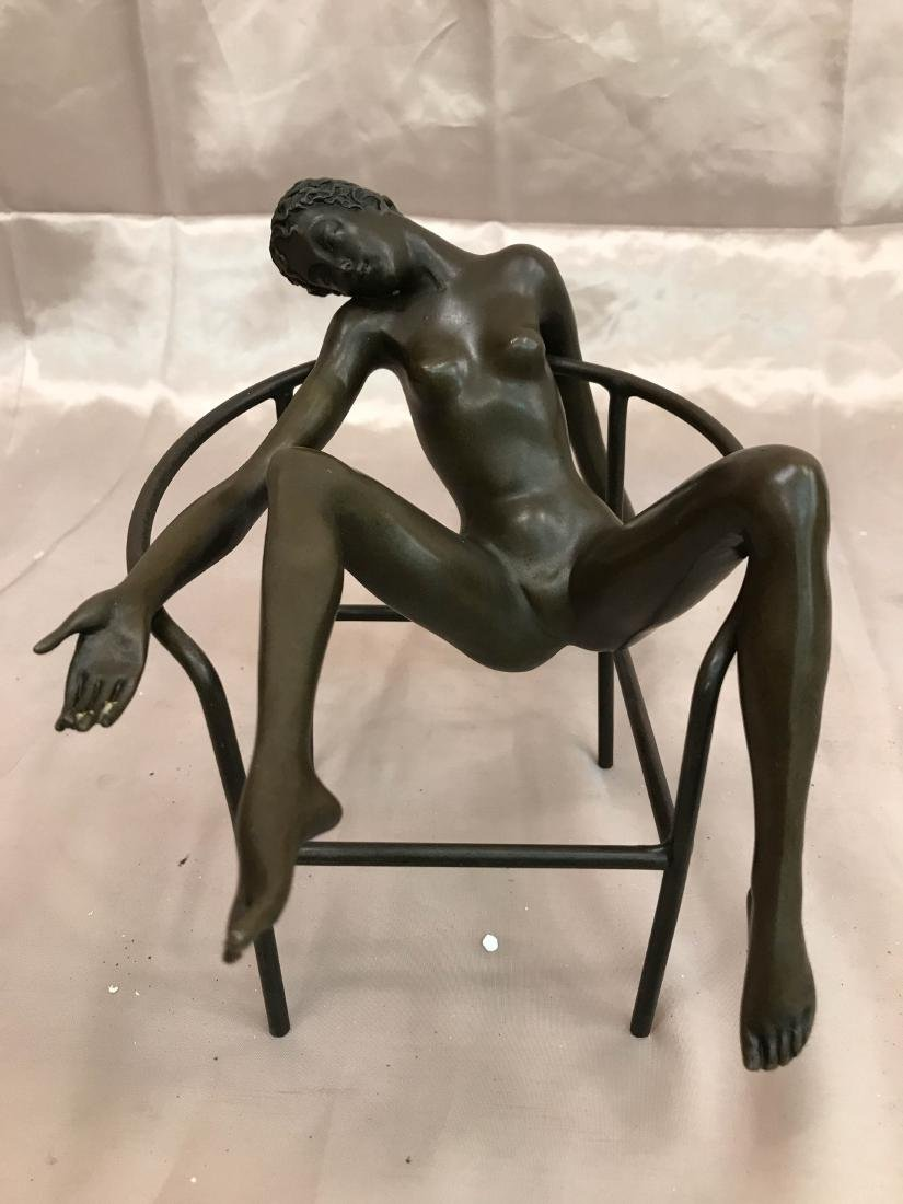 Two Piece Bronze Statue of Nude Woman