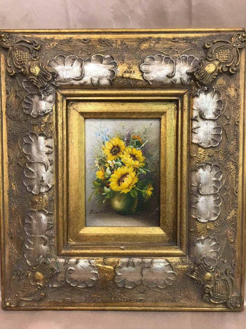 Vintage Oil on Canvas Sunflower Painting, Signed