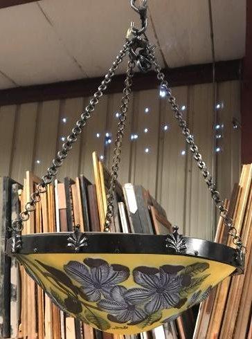 Beautiful Glass Art Deco Chandelier w/ Flower Design