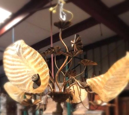 Gilded Glass Lilly 5 Light Chandelier