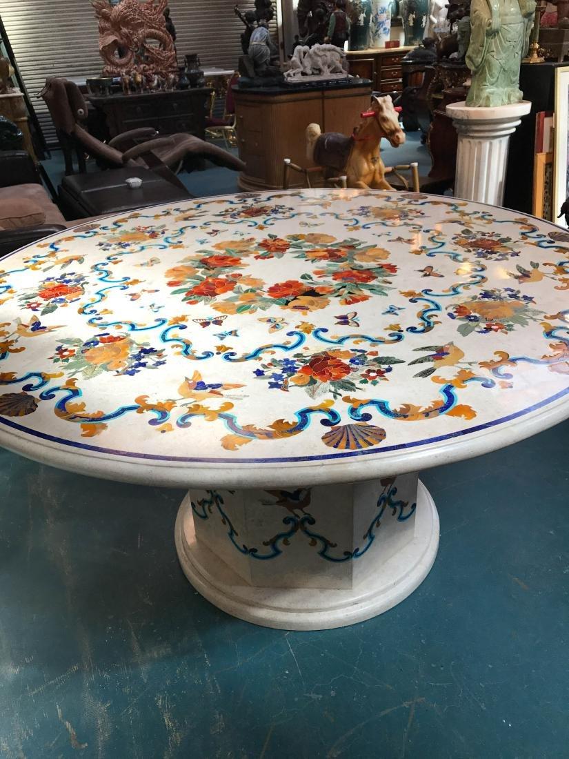 Round Marble Pietra Dura Mosaic Table