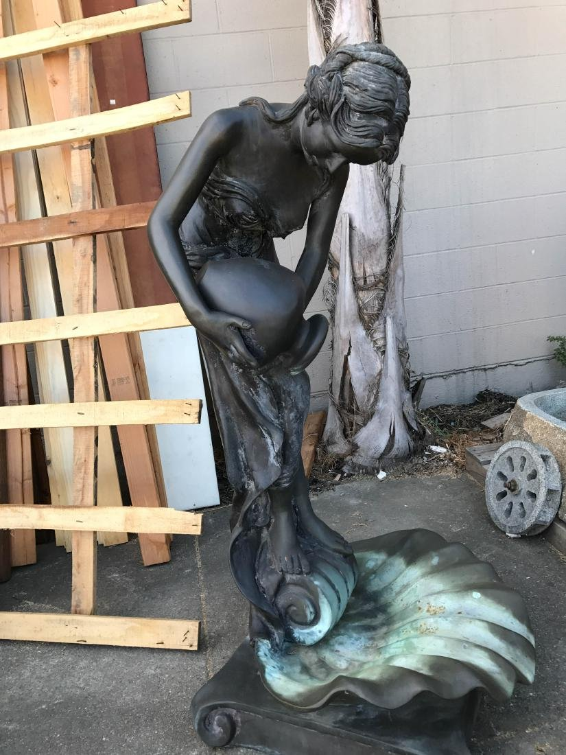 Bronze Fountain of Woman Pouring Water Into Shell