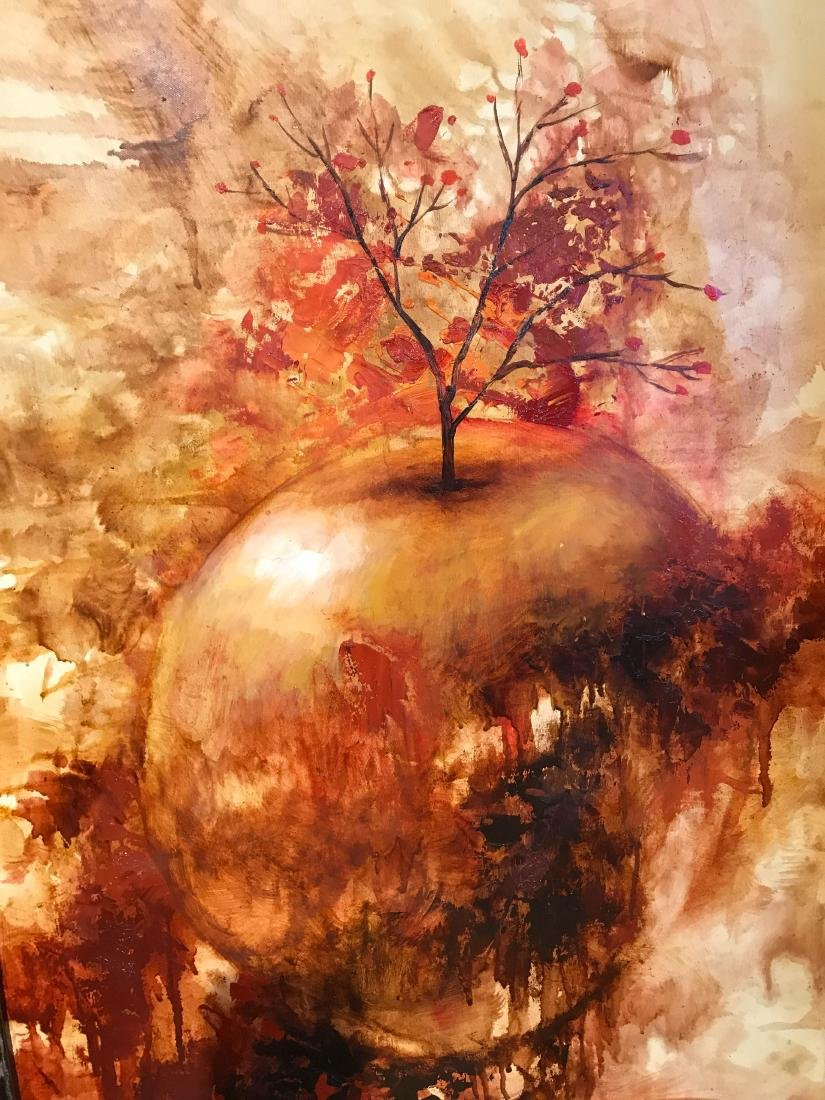 Oil on Canvas Painting of Abstract Apple - 4