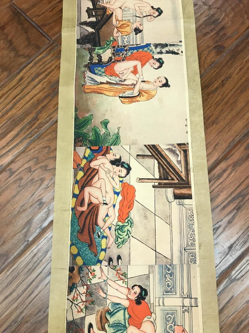 Unusual Chinese Erotic Scenes on Scroll - 4