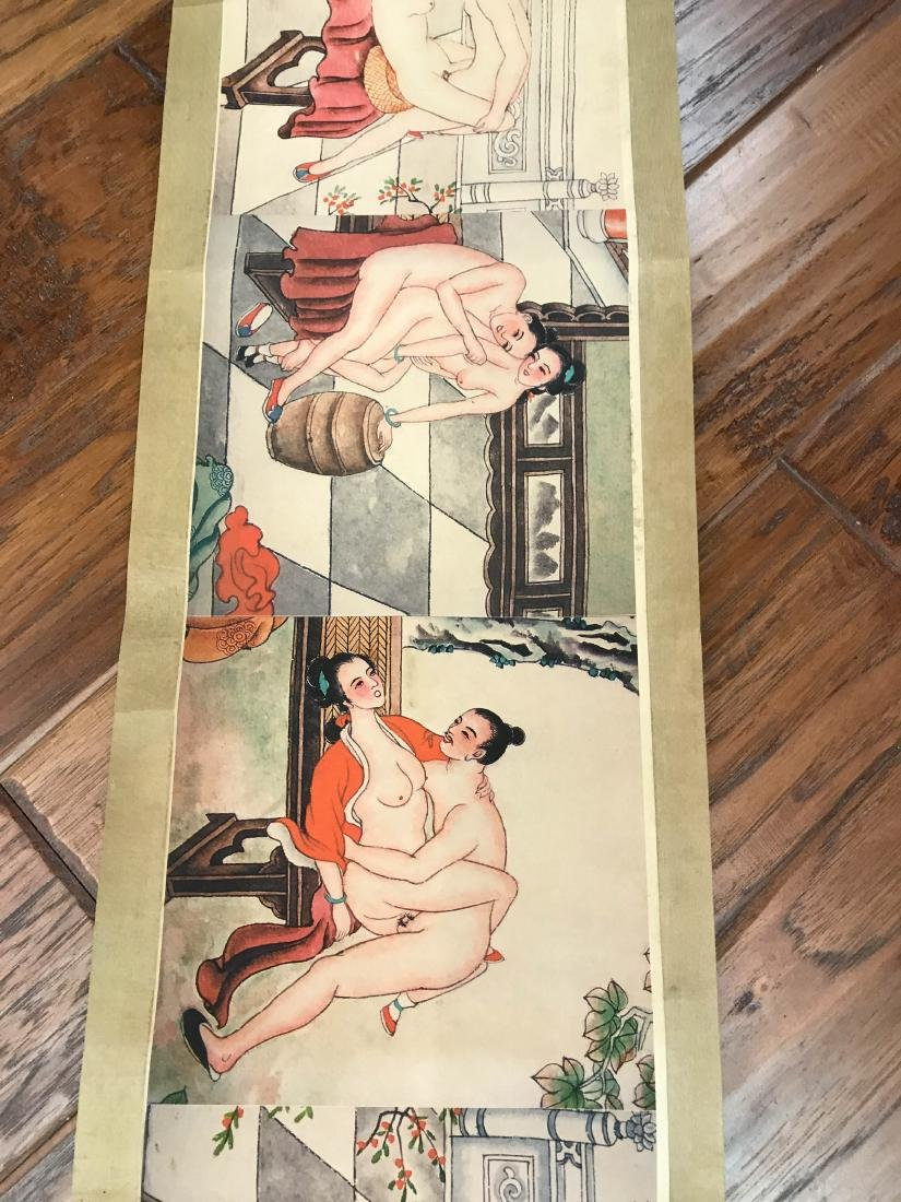 Unusual Chinese Erotic Scenes on Scroll - 6