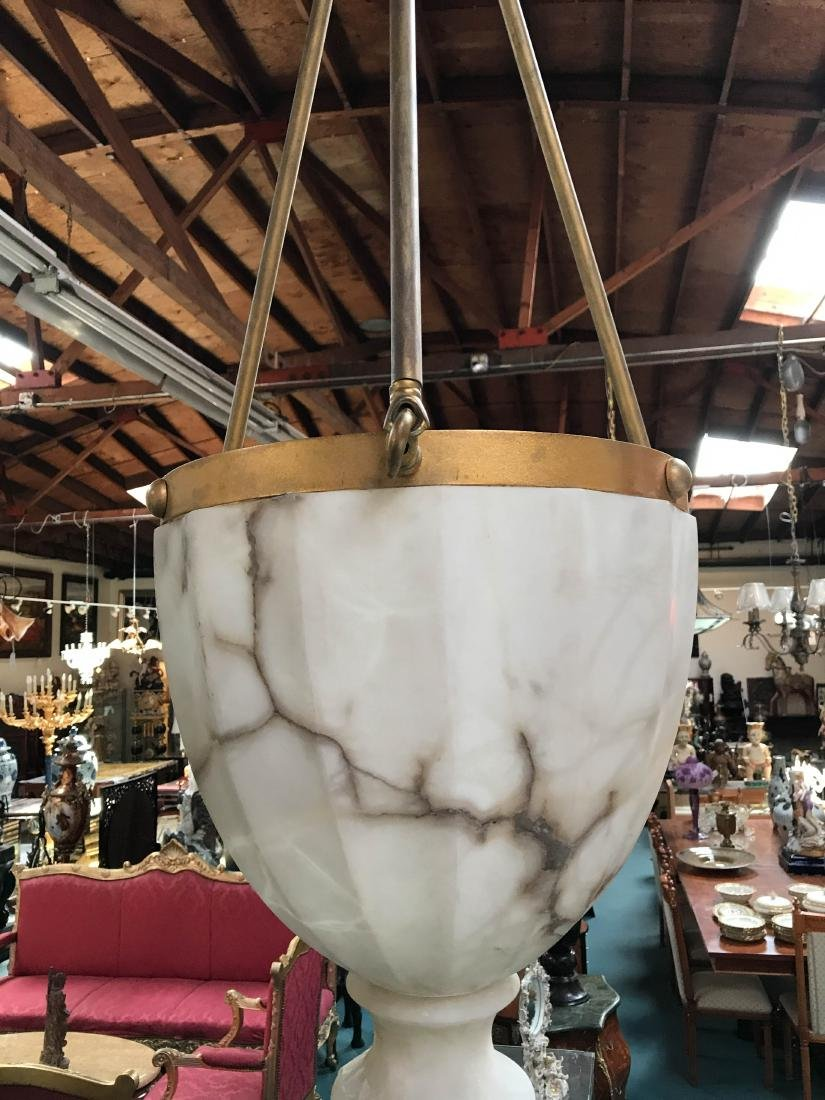 Beautiful Alabaster and Bronze Chandelier - 4