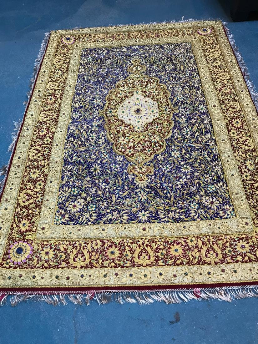 Magnificent Hand-Woven 24k Gold and Gemstone Tapestry