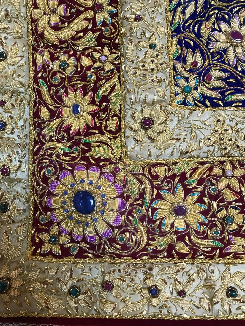 Magnificent Hand-Woven 24k Gold and Gemstone Tapestry - 3