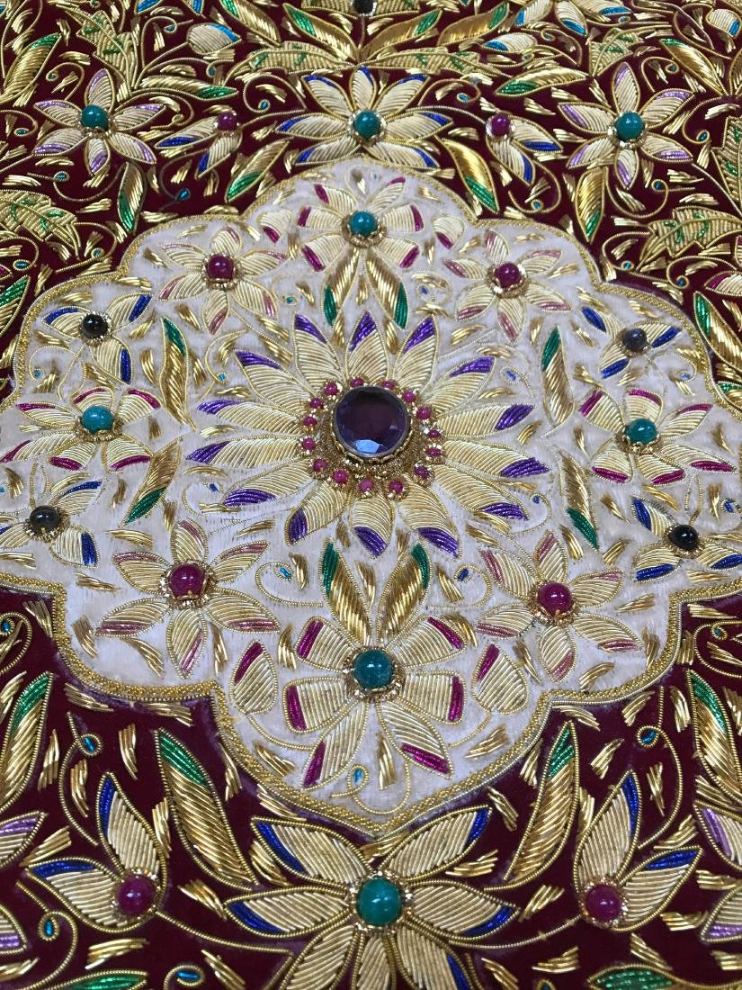 Magnificent Hand-Woven 24k Gold and Gemstone Tapestry - 6