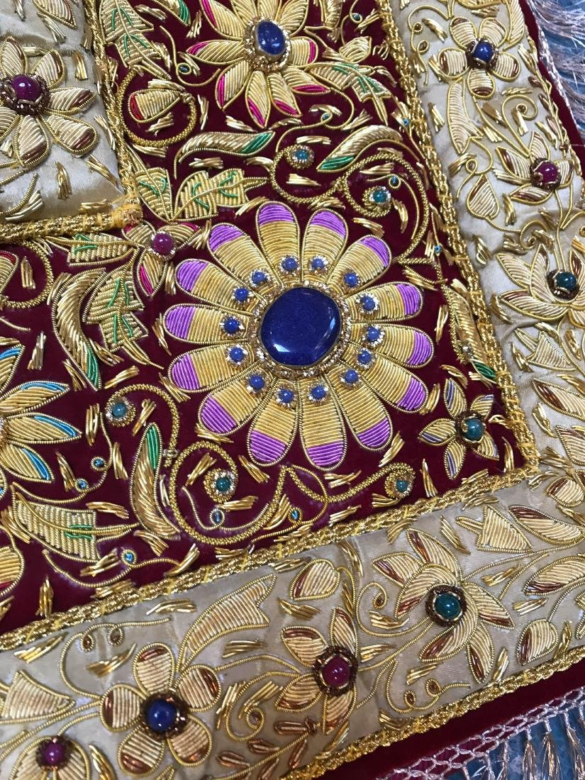 Magnificent Hand-Woven 24k Gold and Gemstone Tapestry - 9