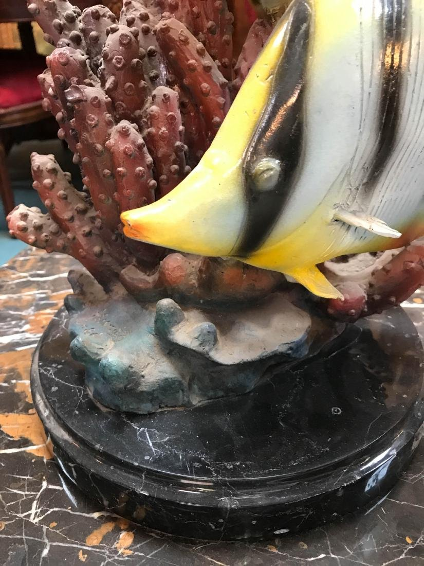 Bronze Statue of Angel Fish in Coral, Signed - 4