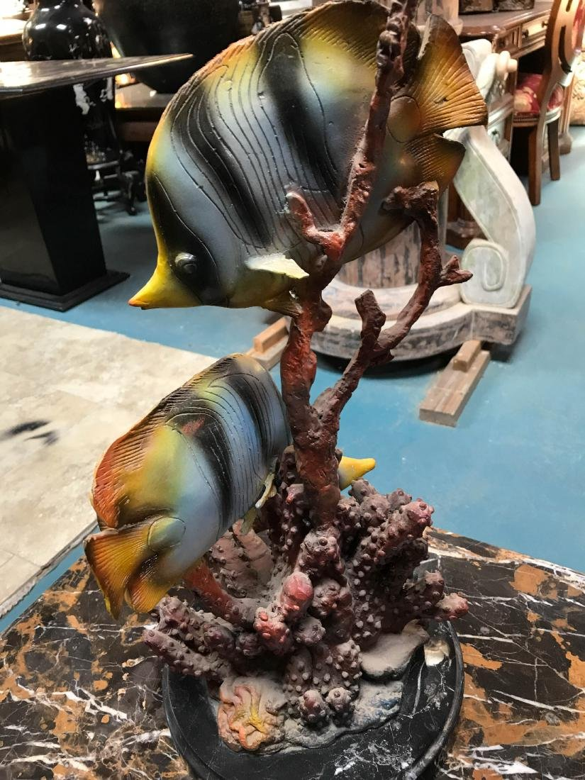 Bronze Statue of Angel Fish in Coral, Signed - 7