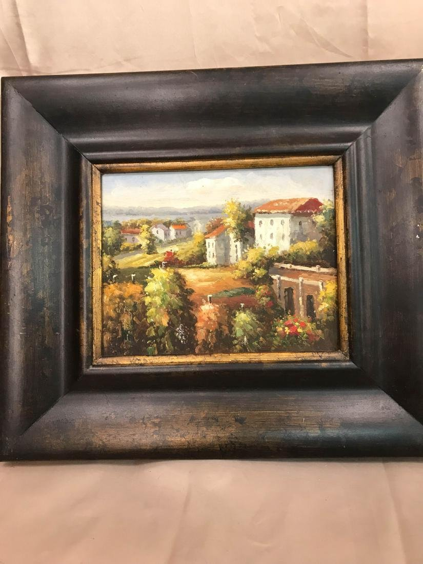 French Oil on Panel Painting of Village Scenery