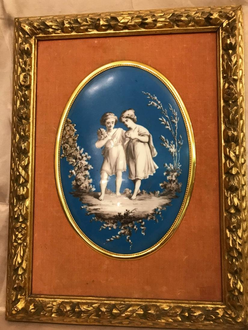 Unique European Porcelain Plaque of Boy and Girl