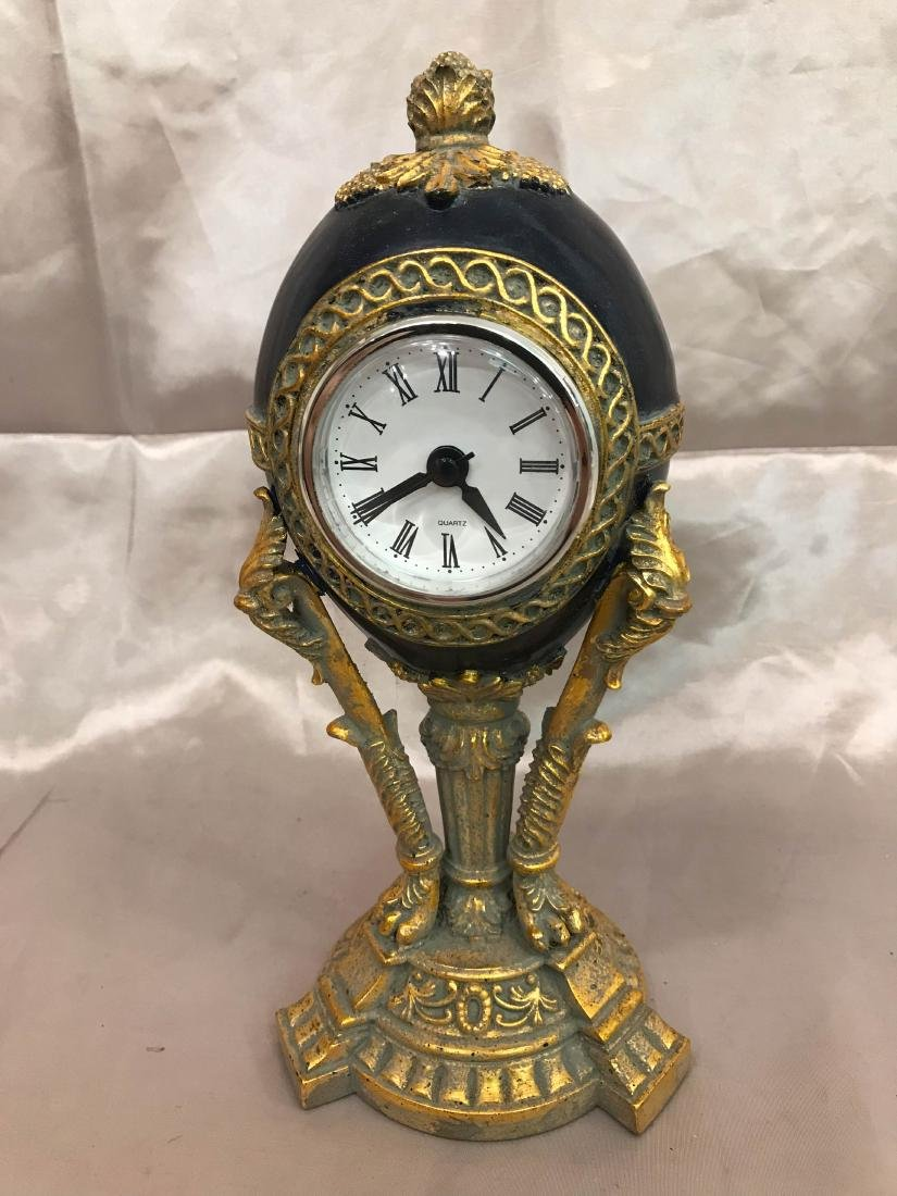 Lovely Miniature Porcelain Egg Clock on Stand