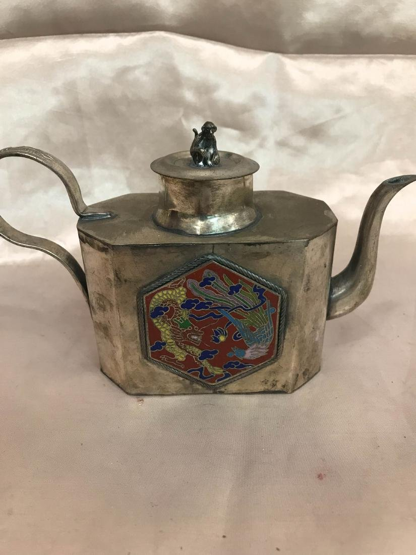 Antique Miniature Silver Tea Pot w/ Dragon Scene
