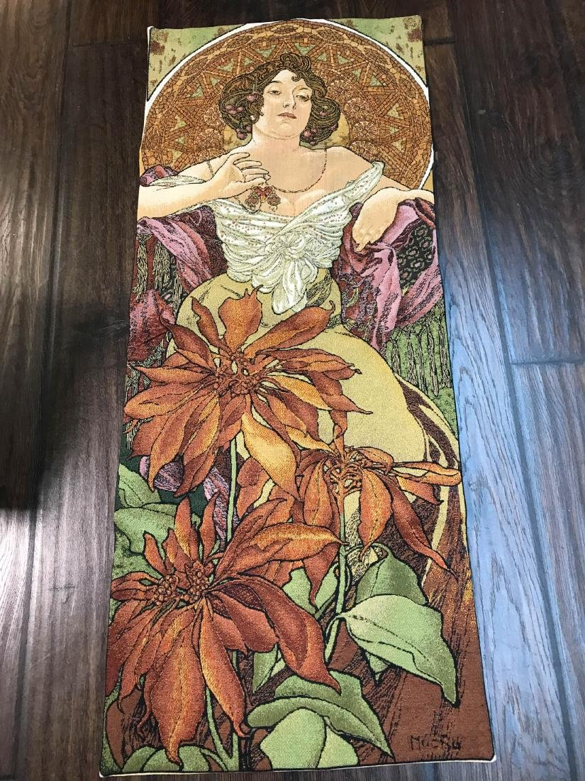 Lovely Mucha Tapestry of Woman with Flowers