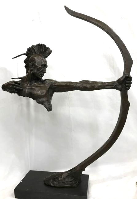 Bronze Statue of Native American with Bow