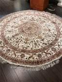 Round HandWoven Silk on Silk Area Rug