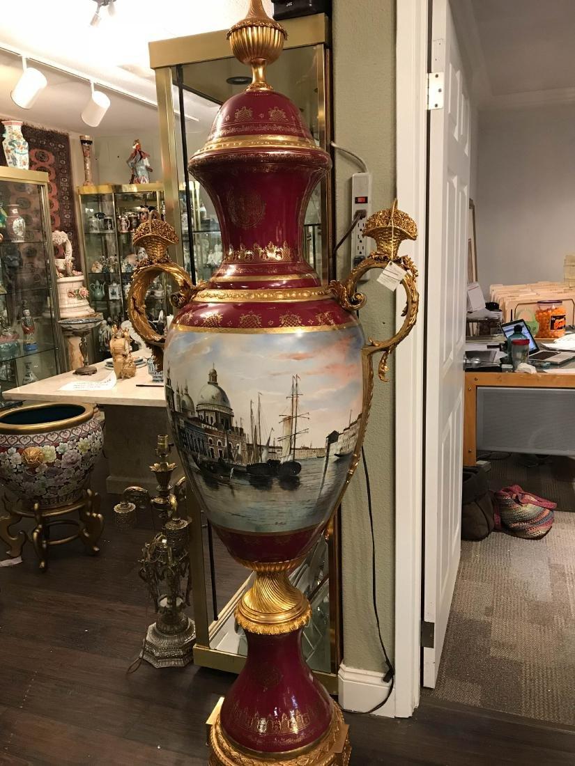 Large 24k Porcelain Hand-Painted Vase