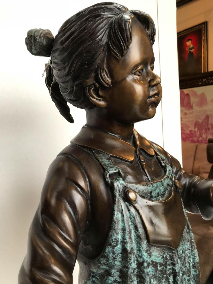 Bronze Statue of Girl in Overalls w/ Basket of Apples - 10