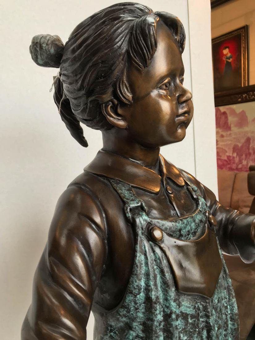 Bronze Statue of Girl in Overalls w/ Basket of Apples - 11