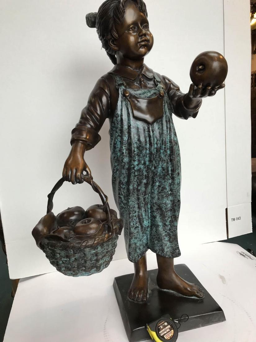 Bronze Statue of Girl in Overalls w/ Basket of Apples - 12