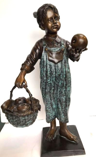 Bronze Statue of Girl in Overalls w/ Basket of Apples