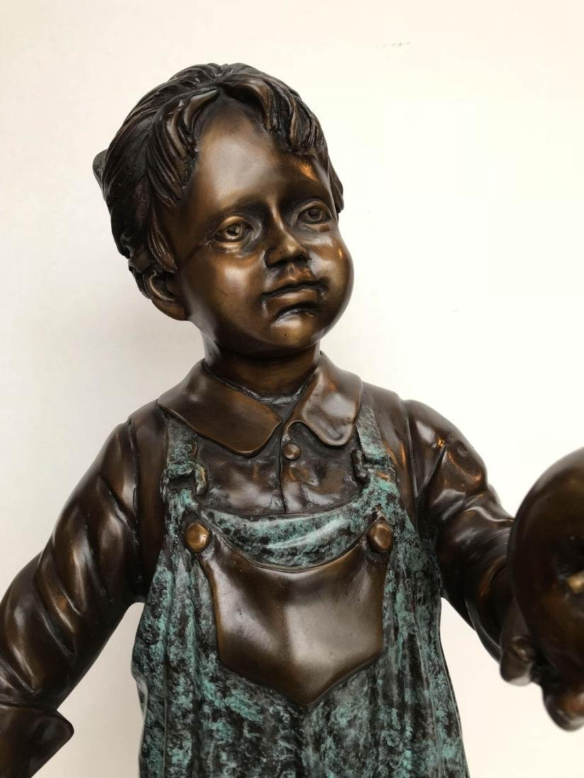 Bronze Statue of Girl in Overalls w/ Basket of Apples - 4