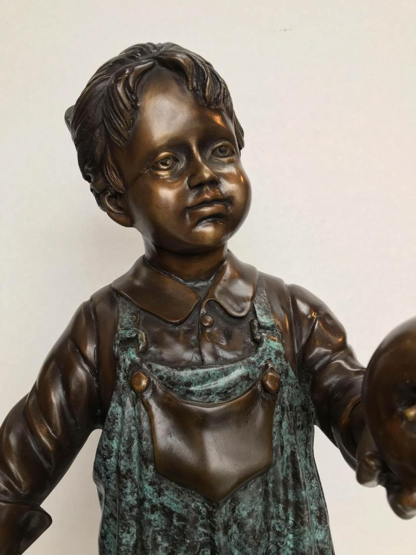 Bronze Statue of Girl in Overalls w/ Basket of Apples - 5