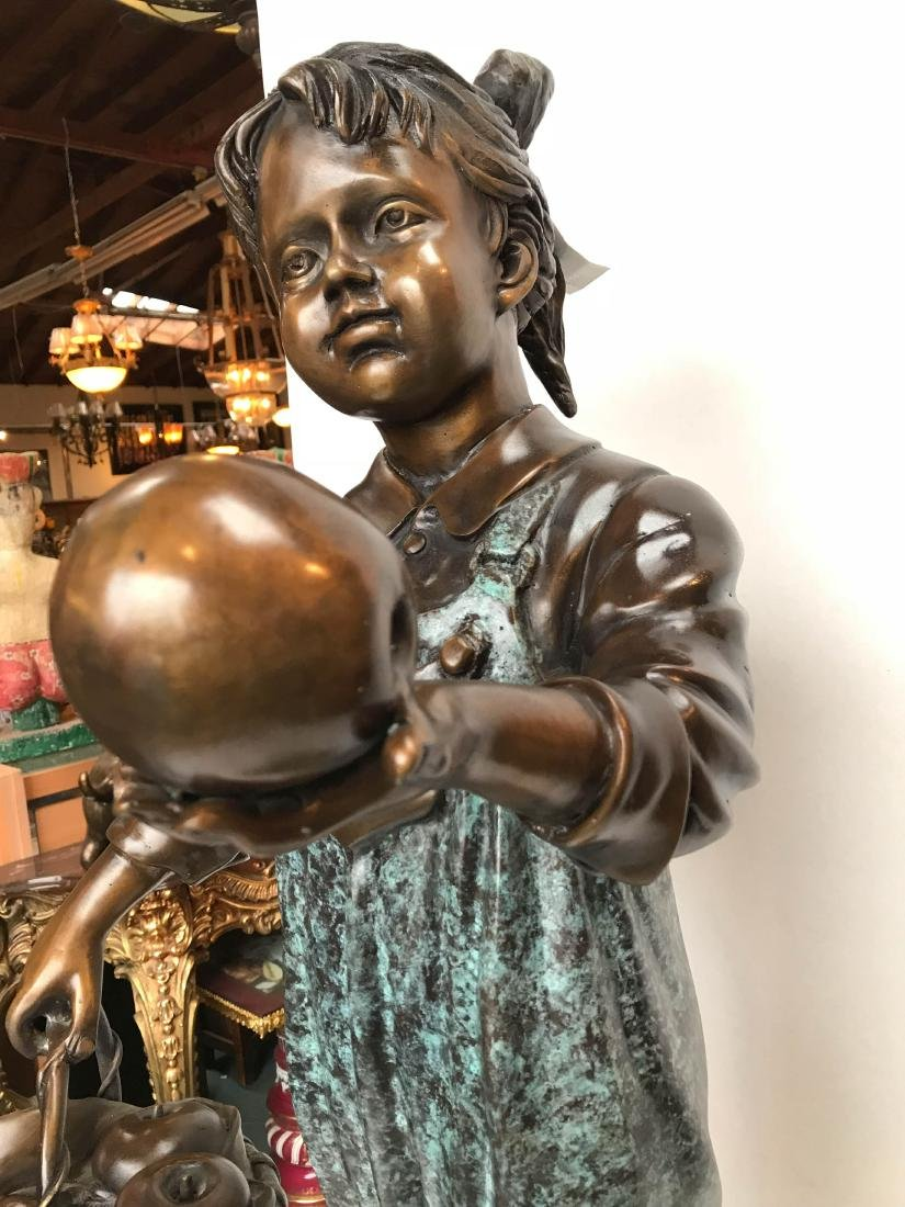 Bronze Statue of Girl in Overalls w/ Basket of Apples - 6