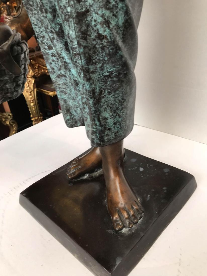 Bronze Statue of Girl in Overalls w/ Basket of Apples - 7