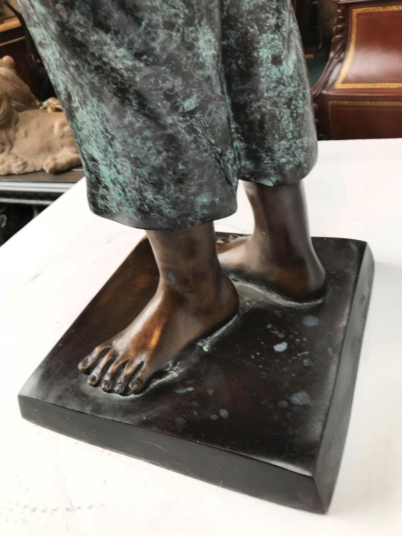 Bronze Statue of Girl in Overalls w/ Basket of Apples - 9