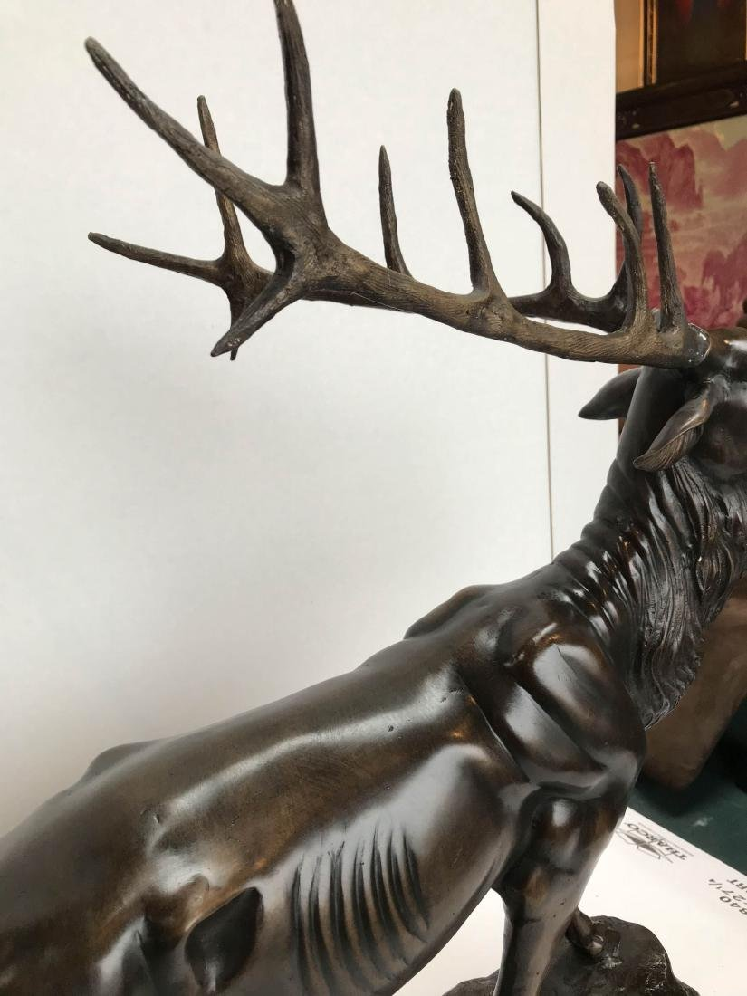 Bronze Buck Statue on Marble Base - 5