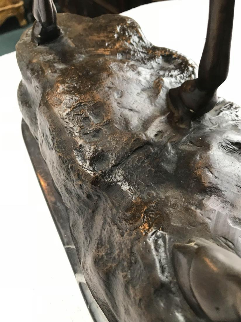 Bronze Buck Statue on Marble Base - 7