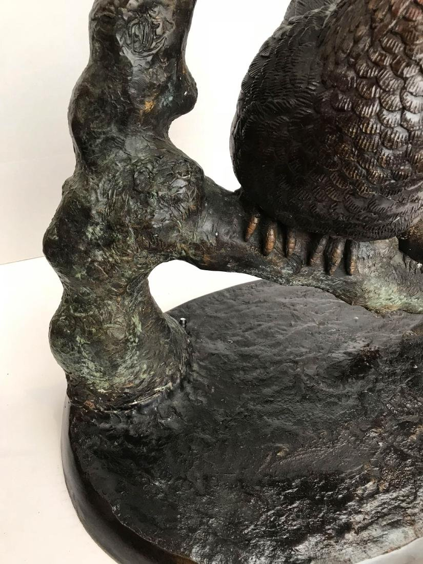 Bronze Fountain of Rooster Chicken Chicks - 4