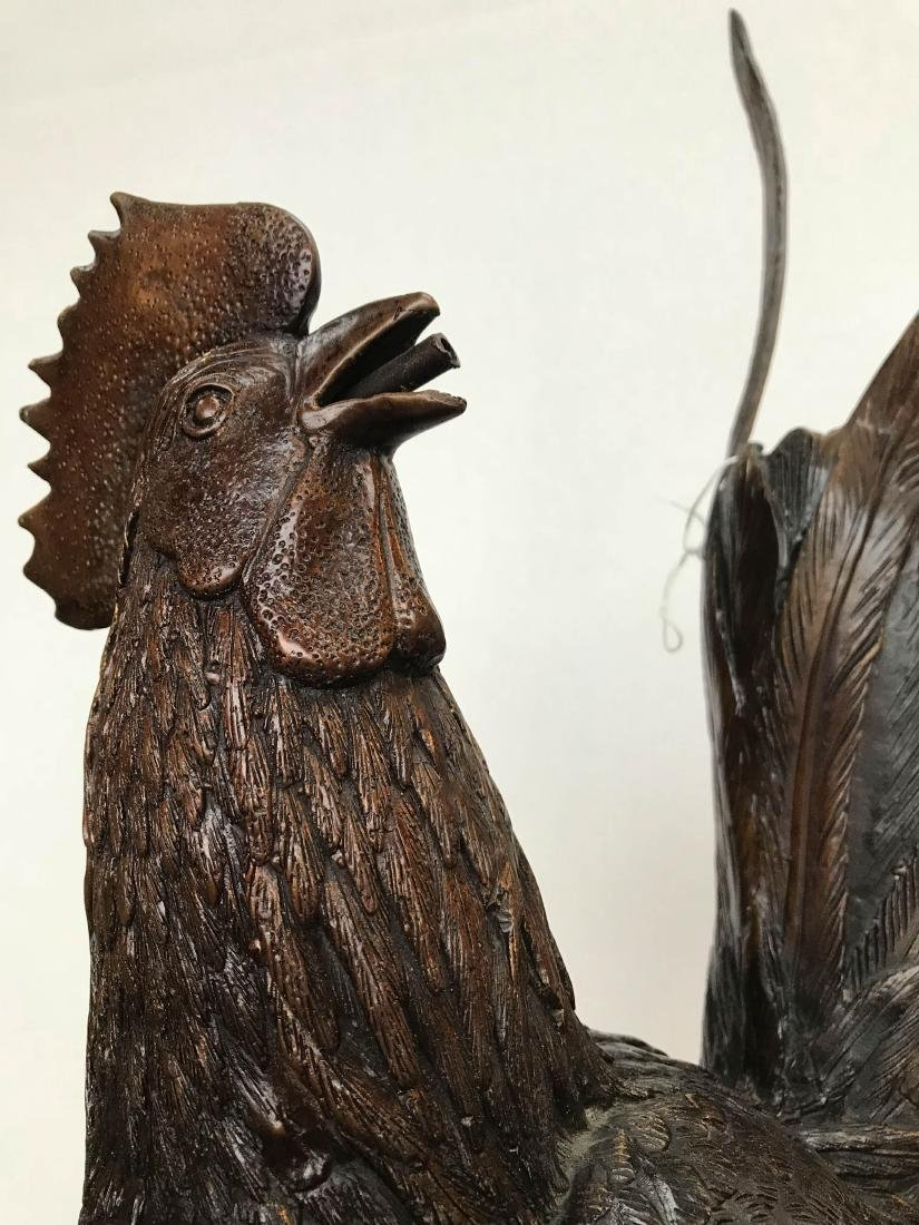 Bronze Fountain of Rooster Chicken Chicks - 7