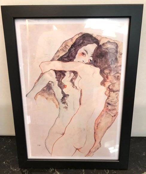 Erotic Watercolor Print of Two Nude Women