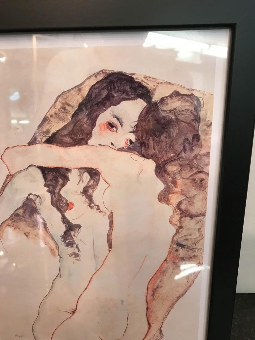 Erotic Watercolor Print of Two Nude Women - 2