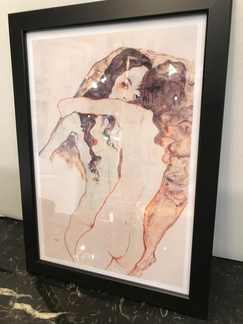 Erotic Watercolor Print of Two Nude Women - 4