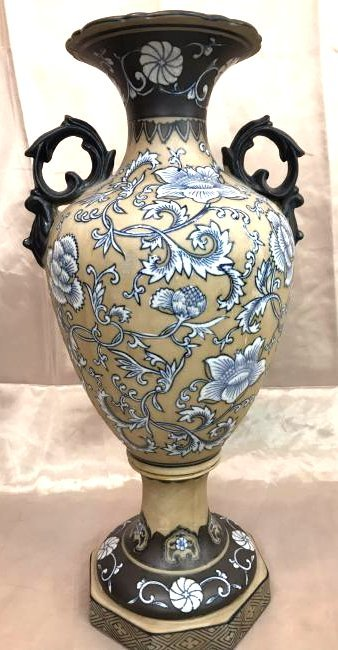 Clay Vase w/ Blue and White Design