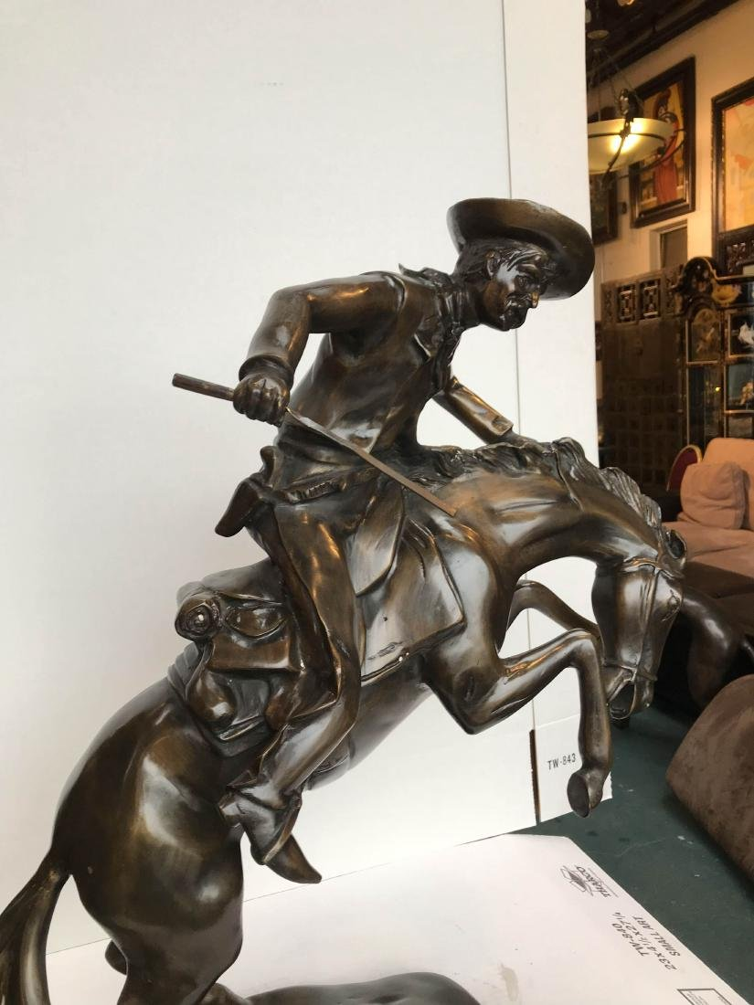 Bronze Statue of Cowboy on Horse - 5