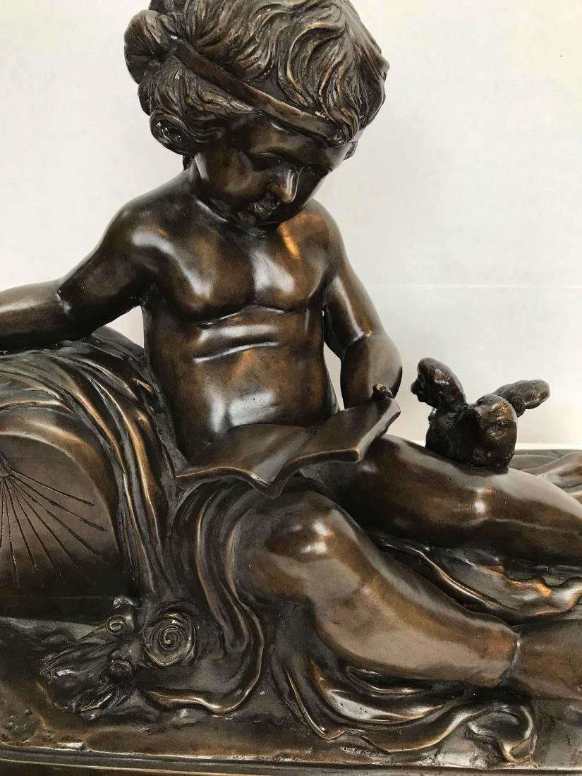 Bronze Statue of a Child Reading a Book - 2