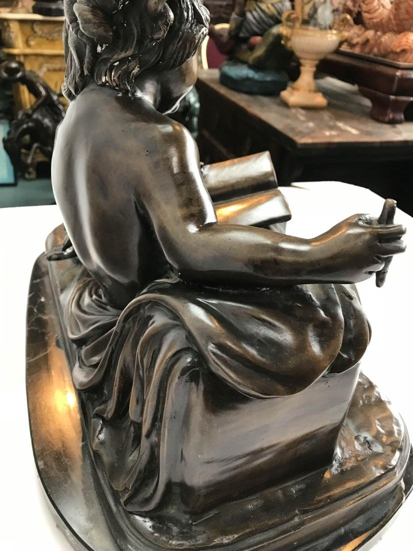 Bronze Statue of a Child Reading a Book - 6