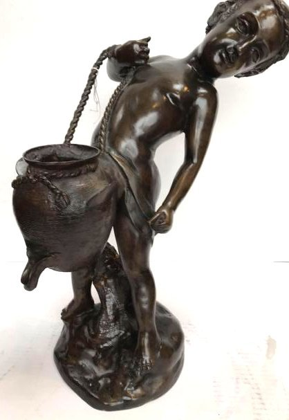 Bronze Statue of Boy Carrying a Water Pitcher