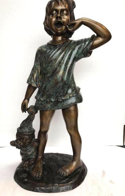 Bronze Statue of a Girl Yawning w/ Teddy Bear